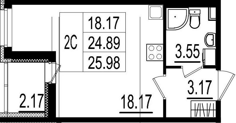 Студия, 24.89 м²