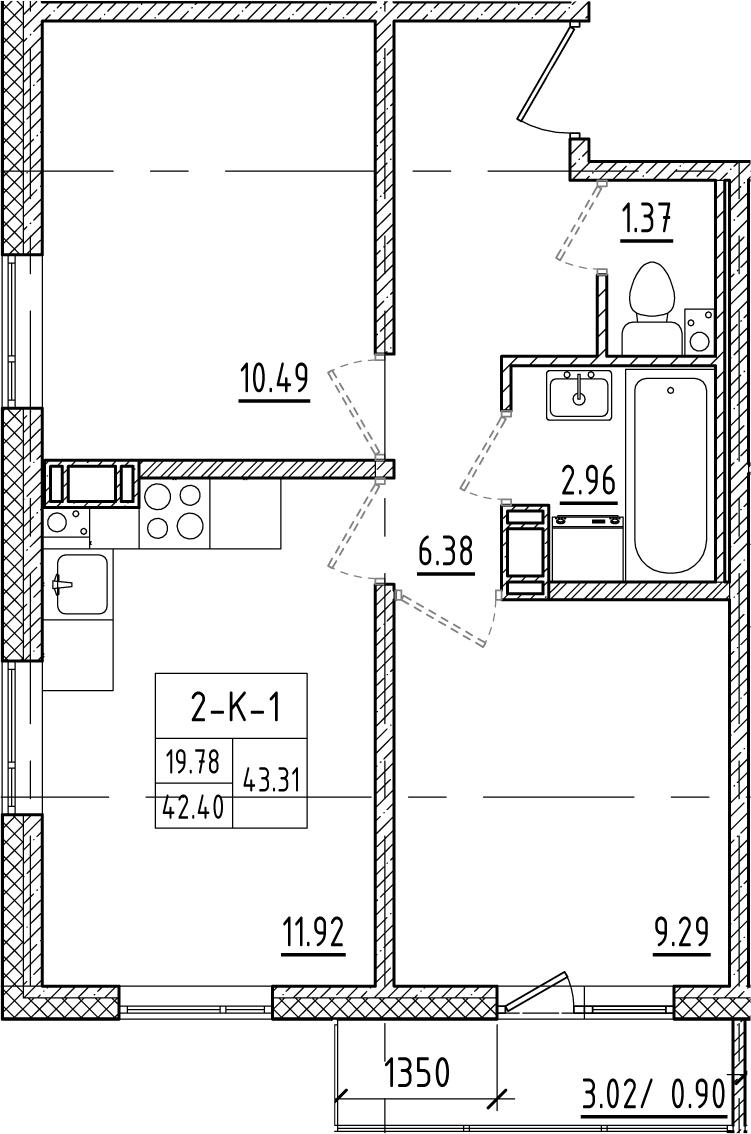 2-к.кв, 45.45 м²