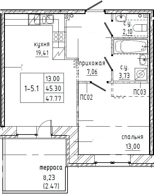 1-к.кв, 47.77 м²