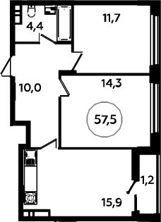 3Е-к.кв, 57.5 м², 15 этаж