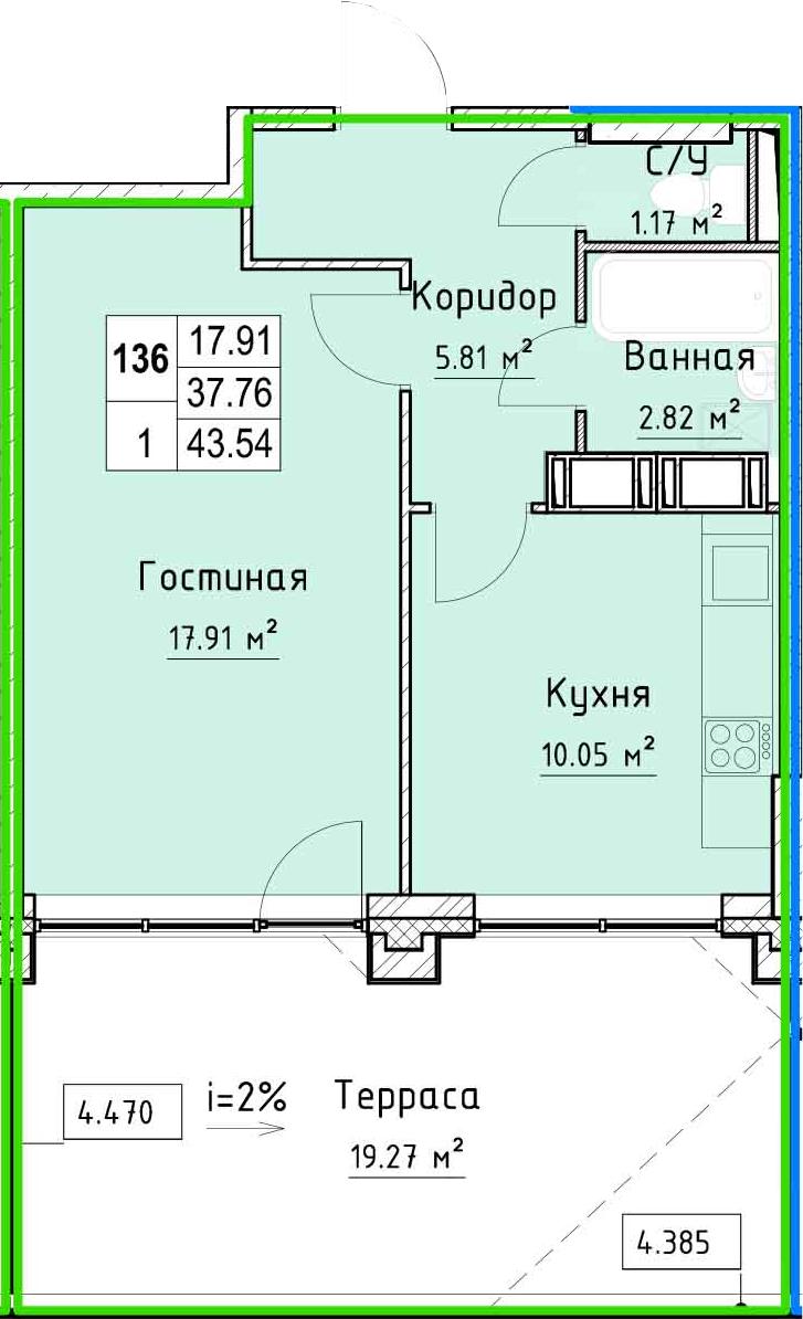 1-к.кв, 58.28 м²