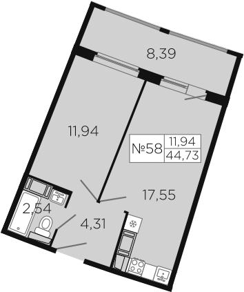 2-к.кв (евро), 64.31 м²