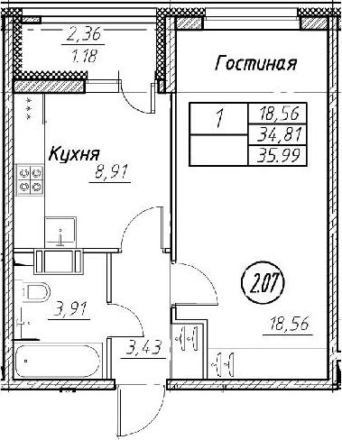 2Е-к.кв, 35.99 м², от 11 этажа