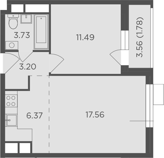 2Е-к.кв, 44.13 м², 8 этаж