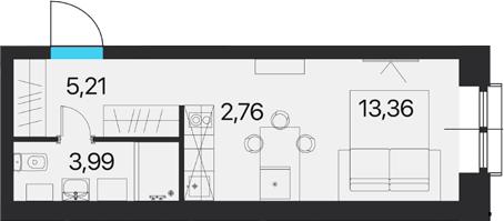 Студия, 25.32 м²
