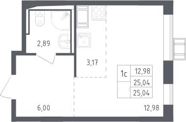 Студия, 25.04 м², 13 этаж