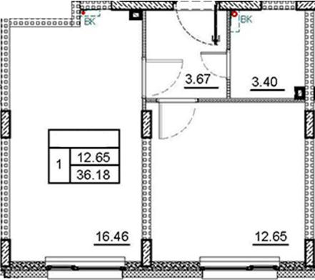 2Е-комнатная, 36.18 м²– 2