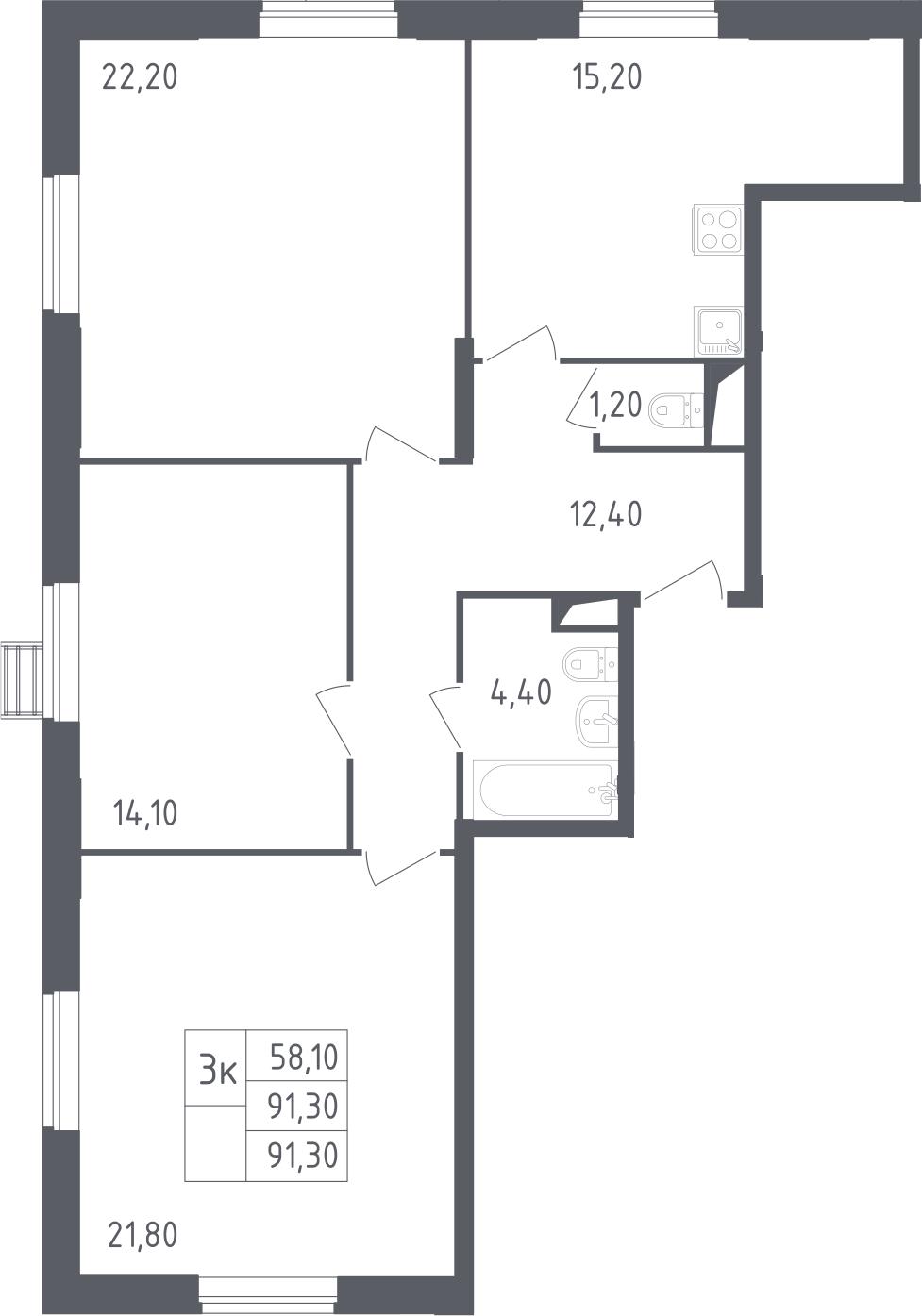 4-к.кв (евро), 91.3 м²
