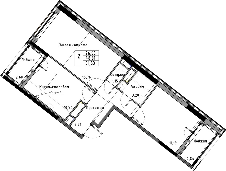 2-к.кв, 51.53 м², от 11 этажа