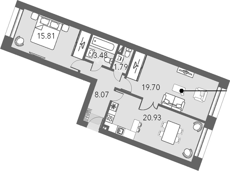 3Е-комнатная, 69.78 м²– 2