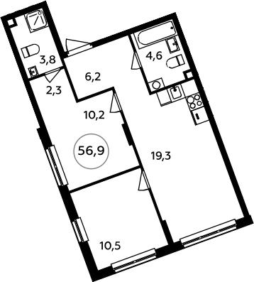 3-к.кв (евро), 56.9 м²