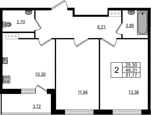 2-к.кв, 52.74 м²