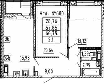3Е-комнатная, 57.85 м²– 2