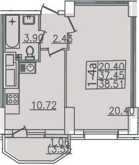 1-комнатная, 38.51 м²– 2