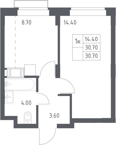 1-к.кв, 30.7 м², 14 этаж