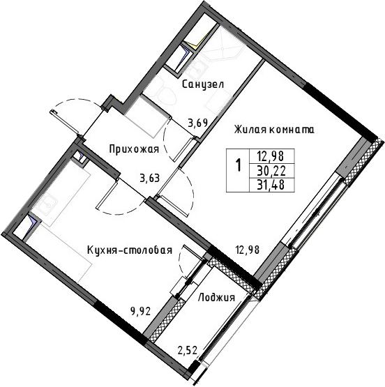 1-к.кв, 31.48 м²