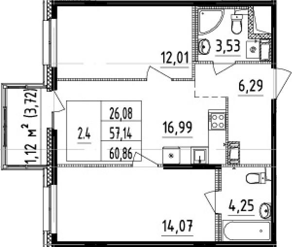 3Е-комнатная, 57.14 м²– 2