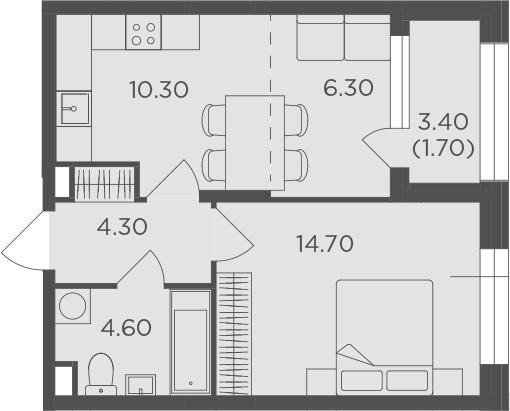 2-к.кв (евро), 43.6 м²