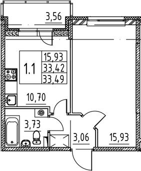 1-к.кв, 33.42 м², 1 этаж