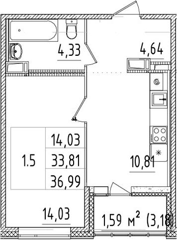 1-к.кв, 33.81 м², 2 этаж