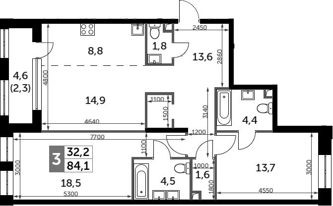 3Е-к.кв, 84.1 м²