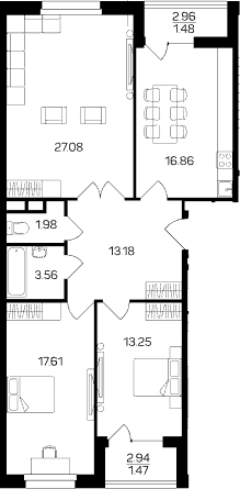 3-к.кв, 96.47 м²