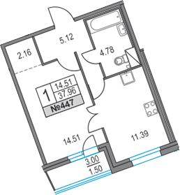 1-к.кв, 40.96 м²