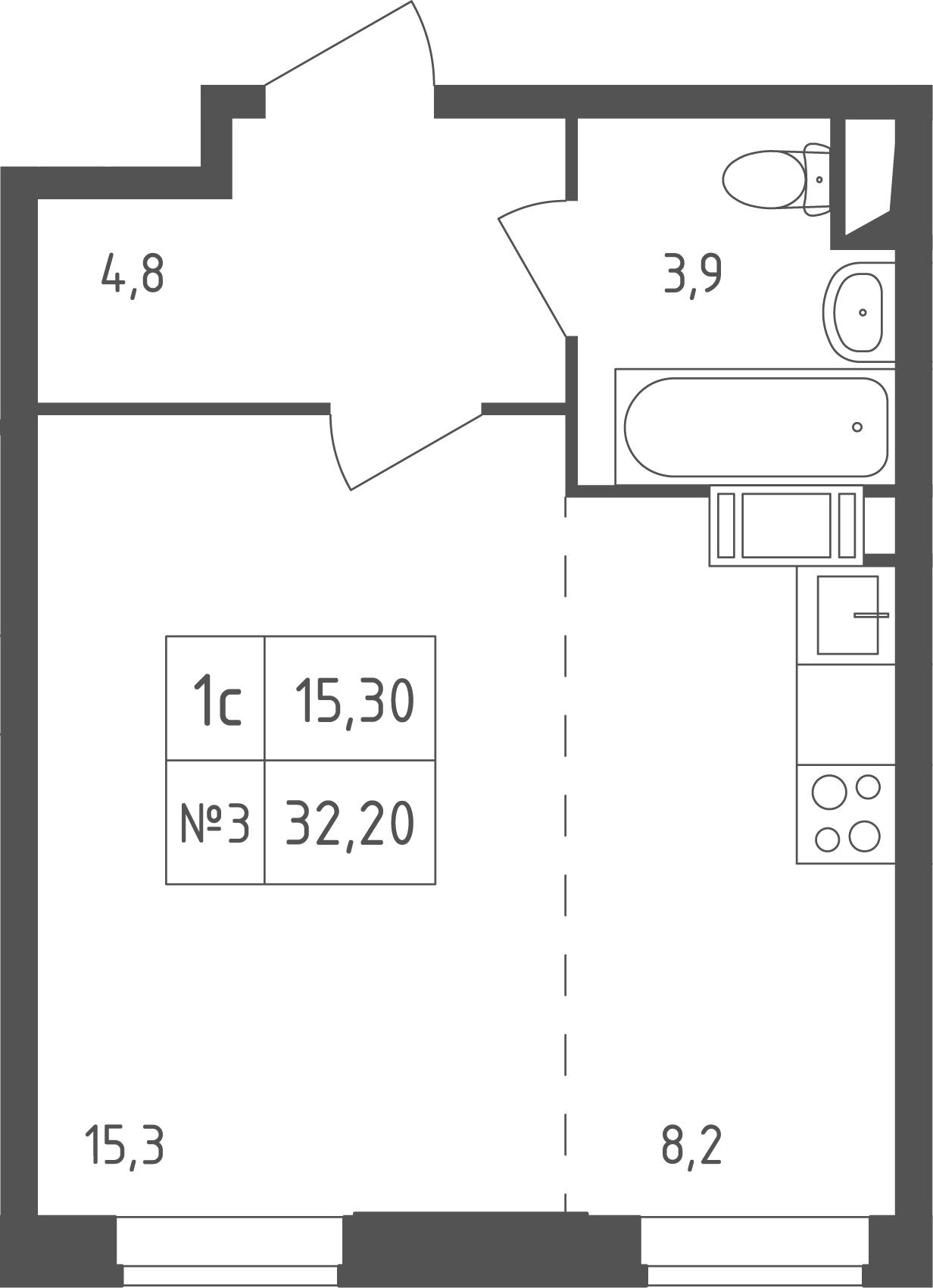 Студия, 32.2 м²– 2
