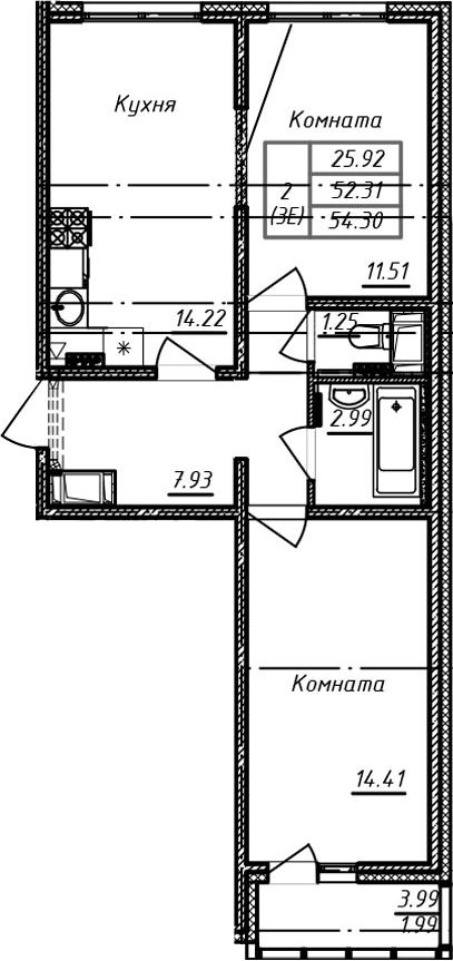 3Е-комнатная, 54.3 м²– 2