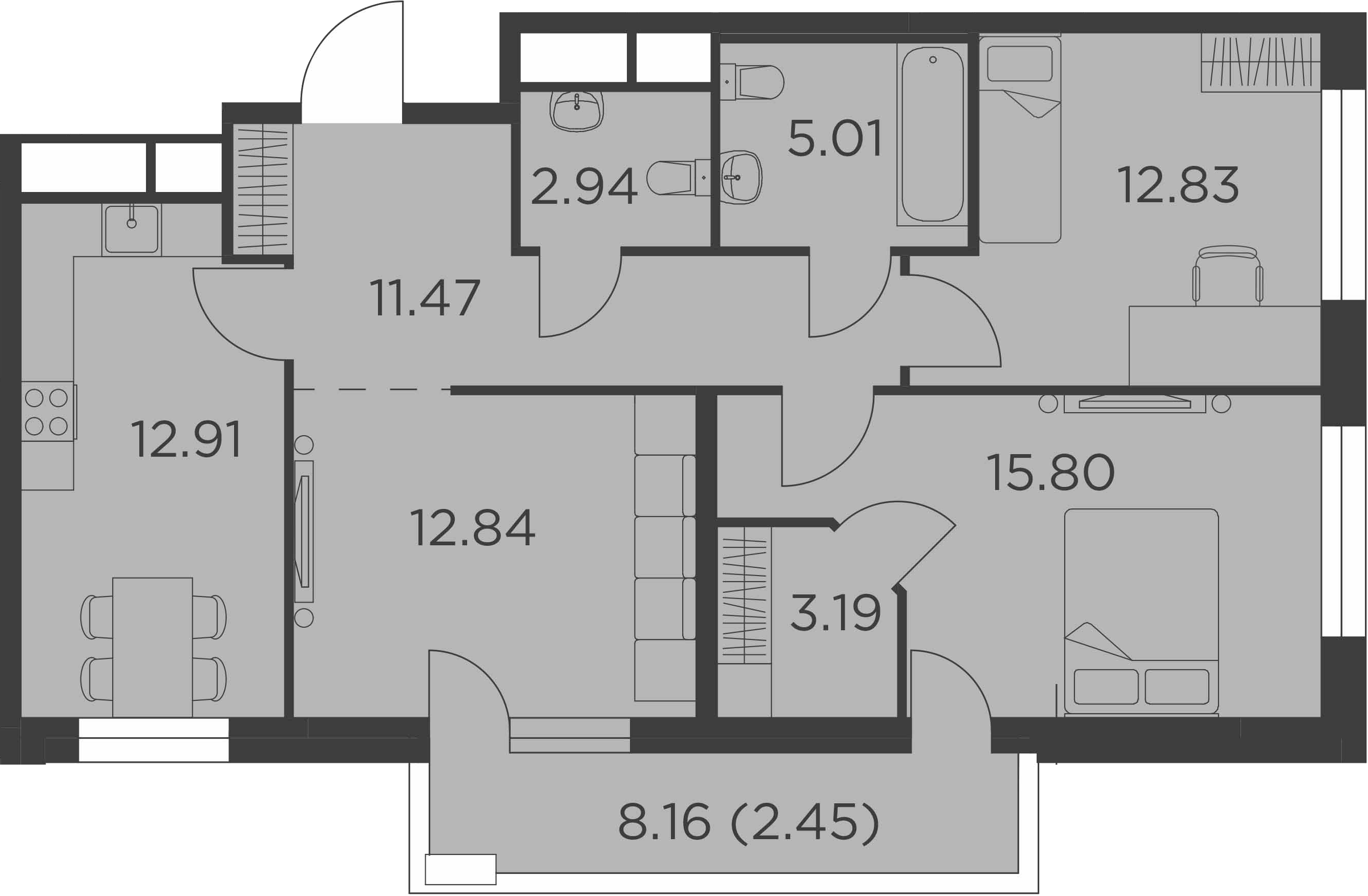 3-комнатная, 79.44 м²– 2