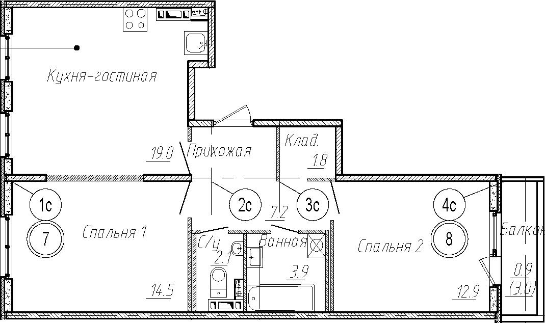 3Е-комнатная квартира, 61.4 м², 4 этаж – Планировка