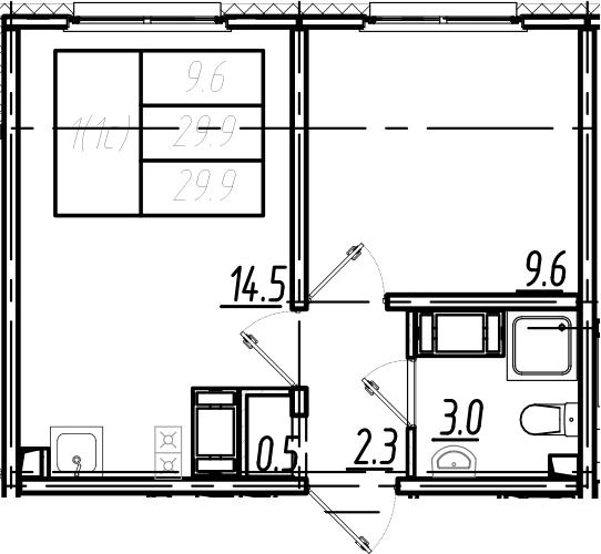 2Е-комнатная, 29.9 м²– 2