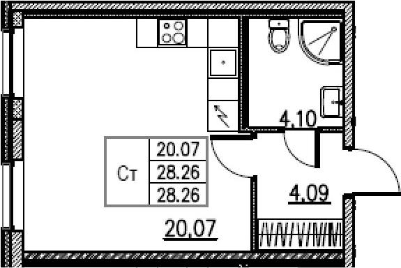 Студия, 28.26 м²– 2