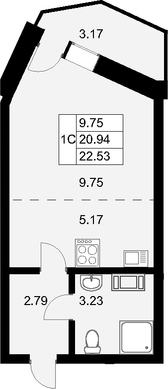 Студия, 24.11 м²