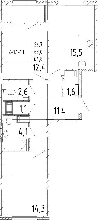 3Е-к.кв, 64.8 м²