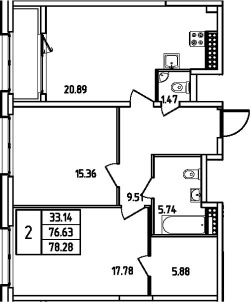 3Е-комнатная, 78.28 м²– 2
