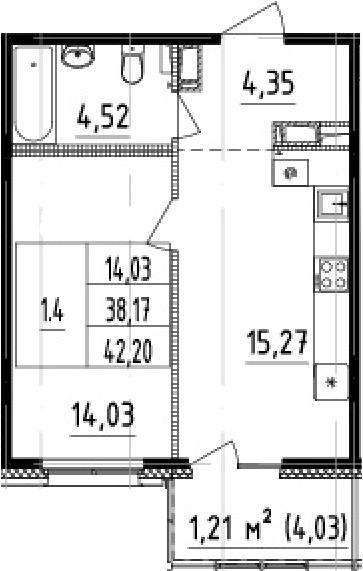 2Е-комнатная, 38.17 м²– 2
