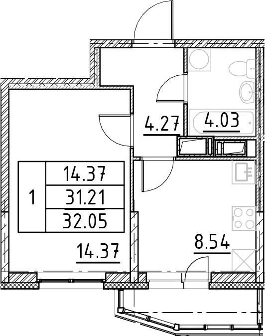 1-к.кв, 34.01 м²