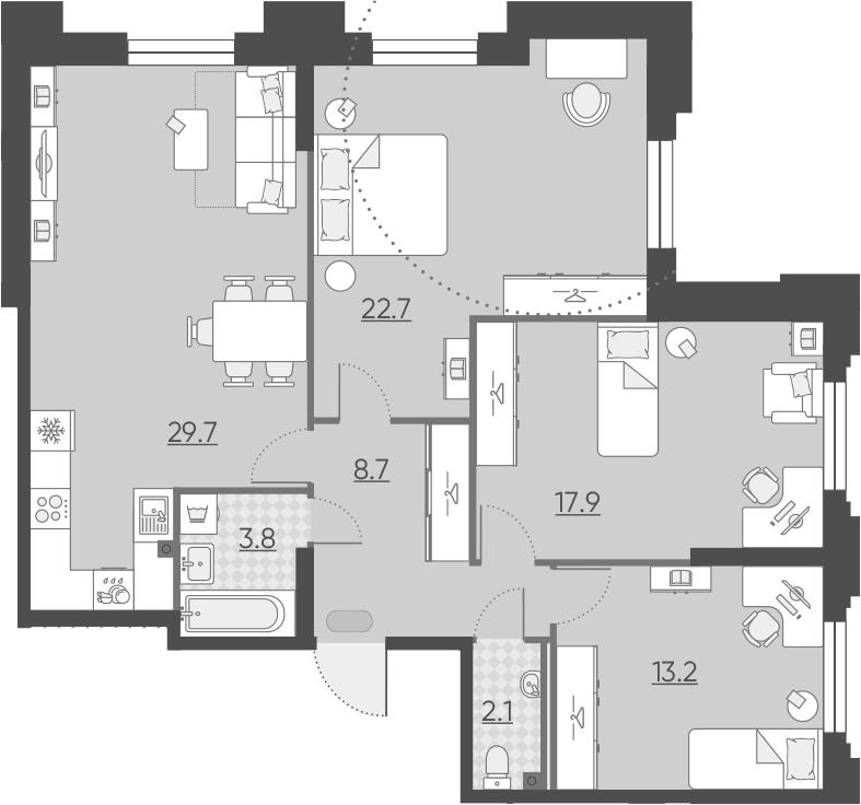 4Е-к.кв, 98.1 м², 2 этаж