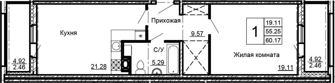2-к.кв (евро), 65.09 м²