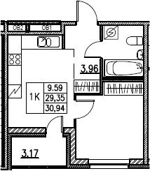 2Е-комнатная, 30.94 м²– 2