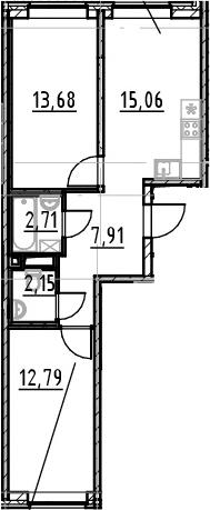 2-к.кв, 54.3 м², 1 этаж