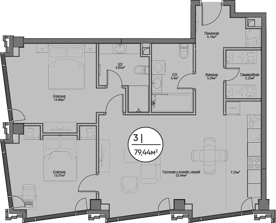 3Е-к.кв, 79.44 м²