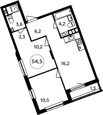 3-к.кв (евро), 55.8 м²
