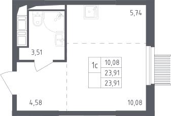 Студия, 23.91 м²– 2