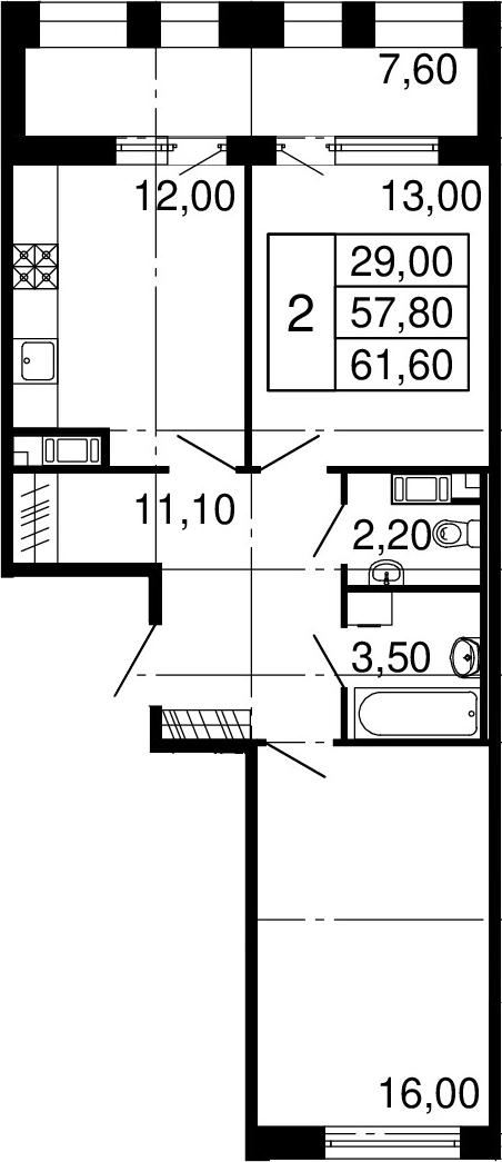 2-комнатная, 57.8 м²– 2