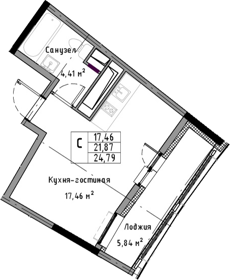 Студия, 24.79 м²– 2