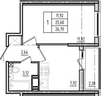 1-комнатная, 25.6 м²– 2
