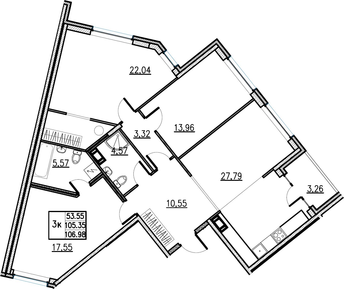 4Е-комнатная, 106.98 м²– 2