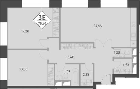 3-к.кв (евро), 78.9 м²